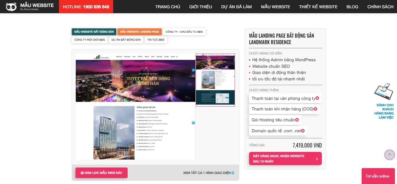 Chi phí để làm website theo mẫu