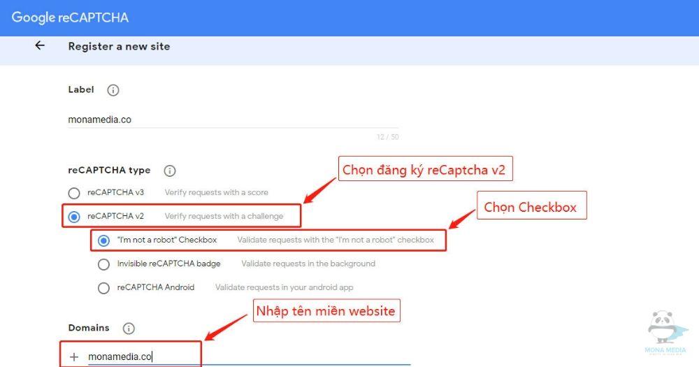 Đăng ký reCaptcha v2 loại Checkbox.