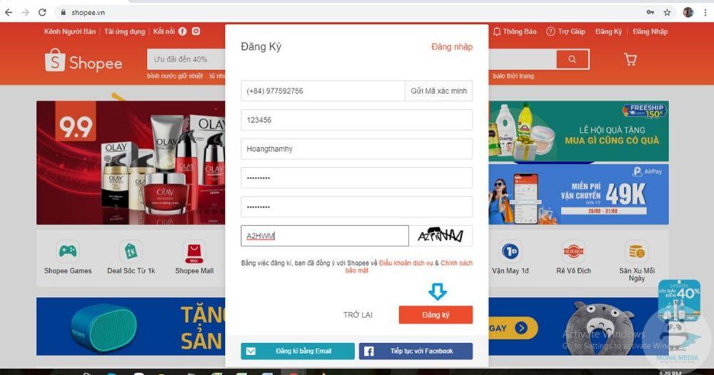Điền thông tin đăng nhập