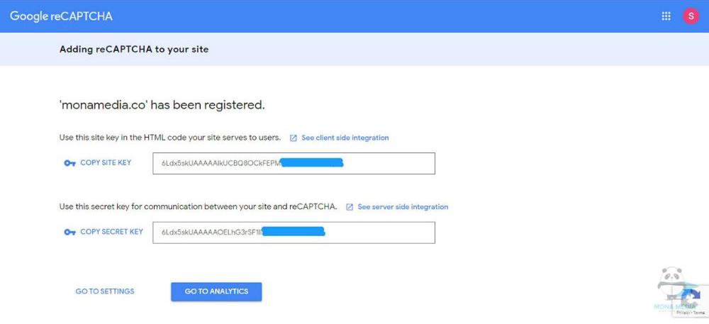 đăng ký thành công reCaptcha v3.