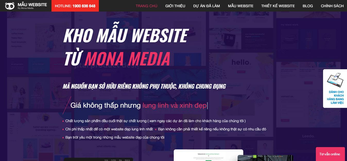 Monamedia đã xây dựng sẵn kho mẫu website
