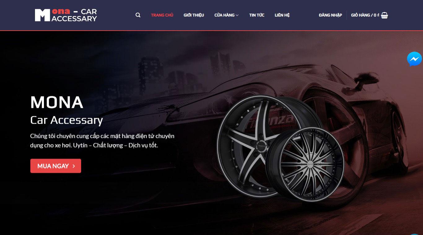 Mẫu website bán phụ kiện xe hơi Hưng Vỹ