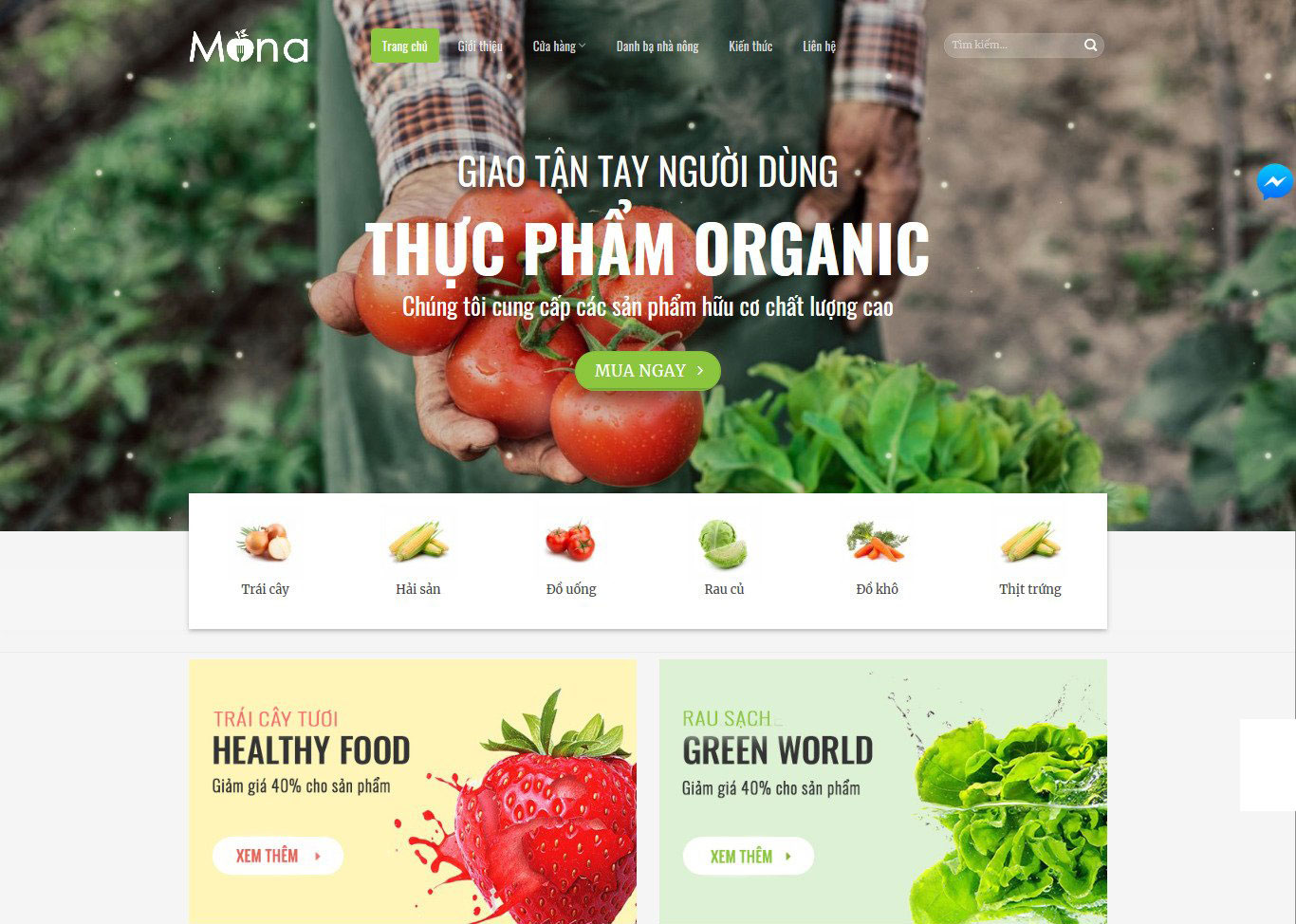 Mẫu website bán thực phẩm organic.