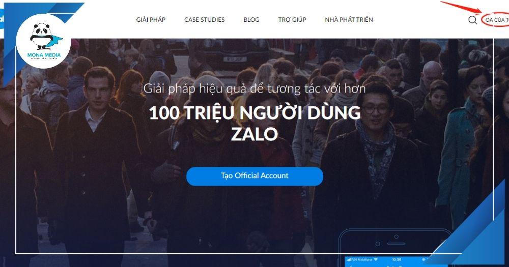 Mở tài khoản Zalo