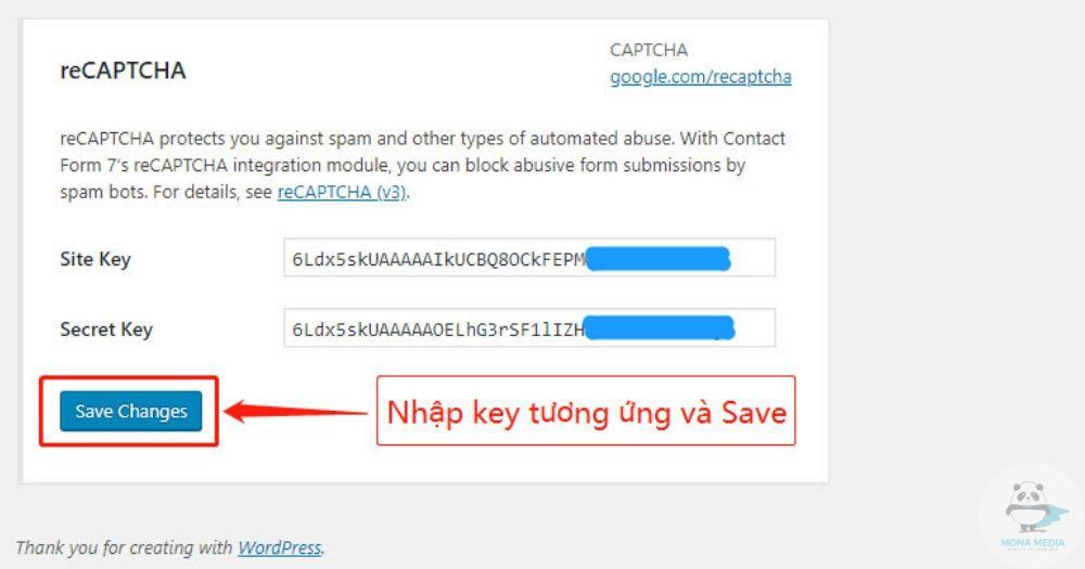Dán key tương ứng vào và Save.