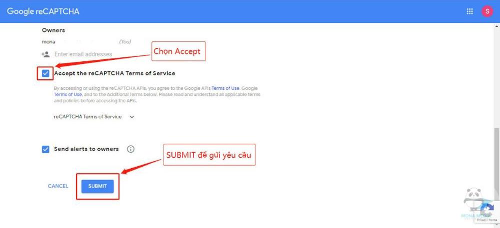 Submit để nhận key recaptcha v2.