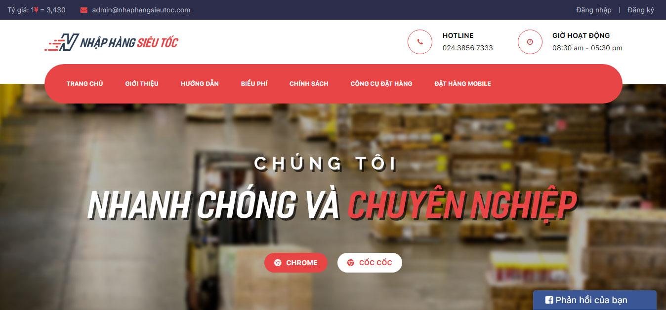 Thiết kế website nhập hàng Siêu Tốc