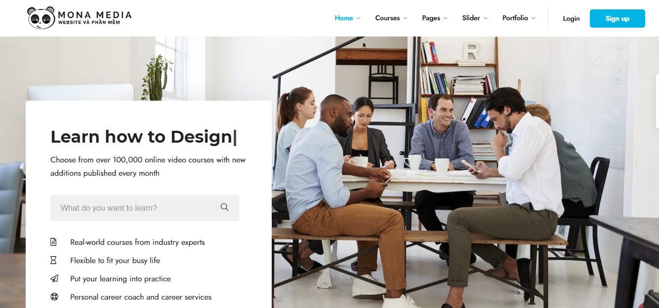 thiết kế website trung tâm ngoại ngữ tại Monamedia