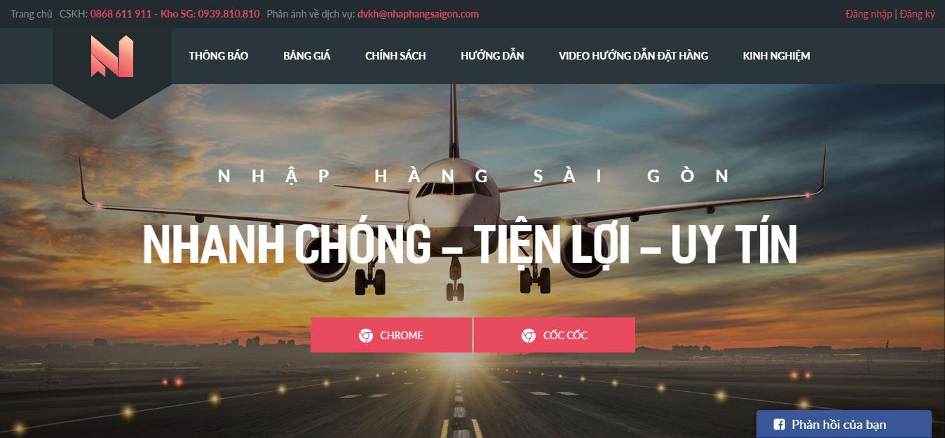 Website nhaphangsaigon do Mona thiết kế