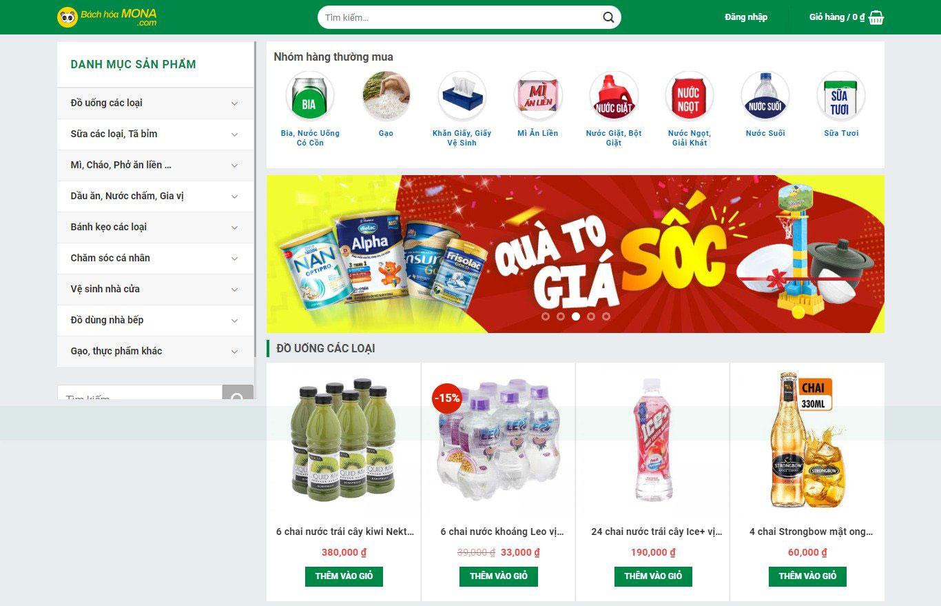 Mẫu website bán hàng giống Bách Hóa Xanh