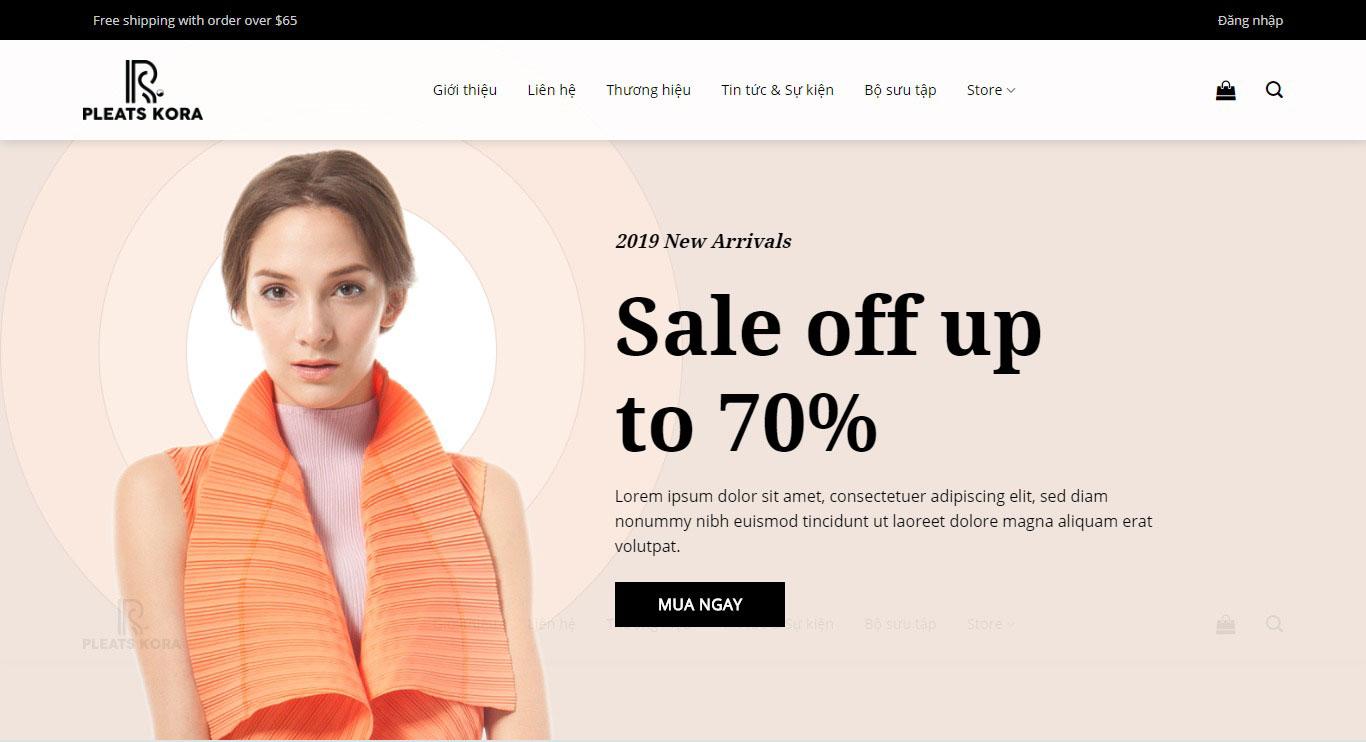 Mẫu website bán hàng thời trang Pleatskora