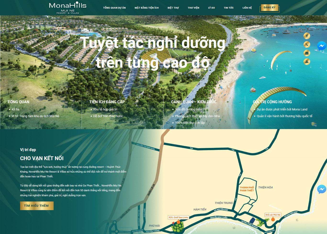 Mẫu website bất động sản MonaHills