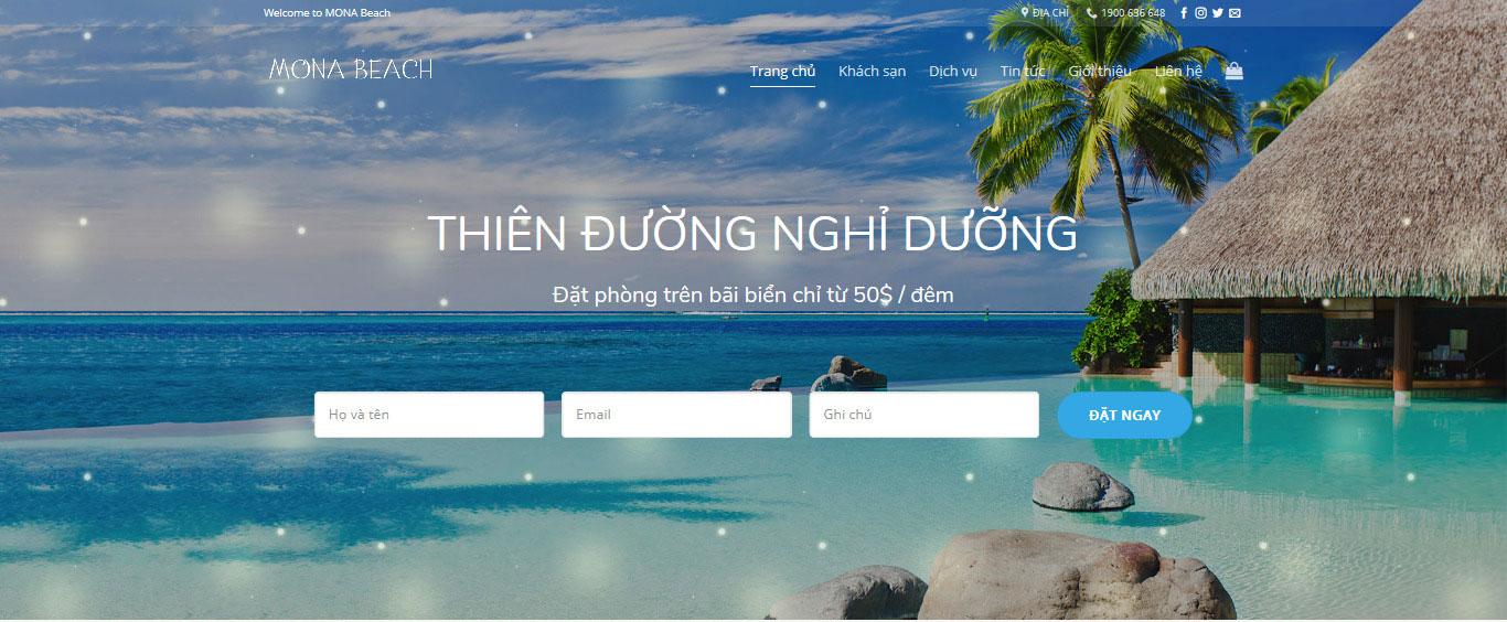 Mẫu website khách sạn Beachhouse.