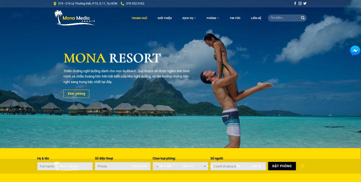Mẫu website resort Bellwvue.