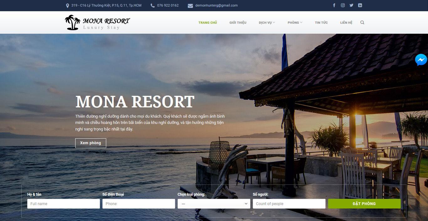 Mẫu website resort Lakeresort.