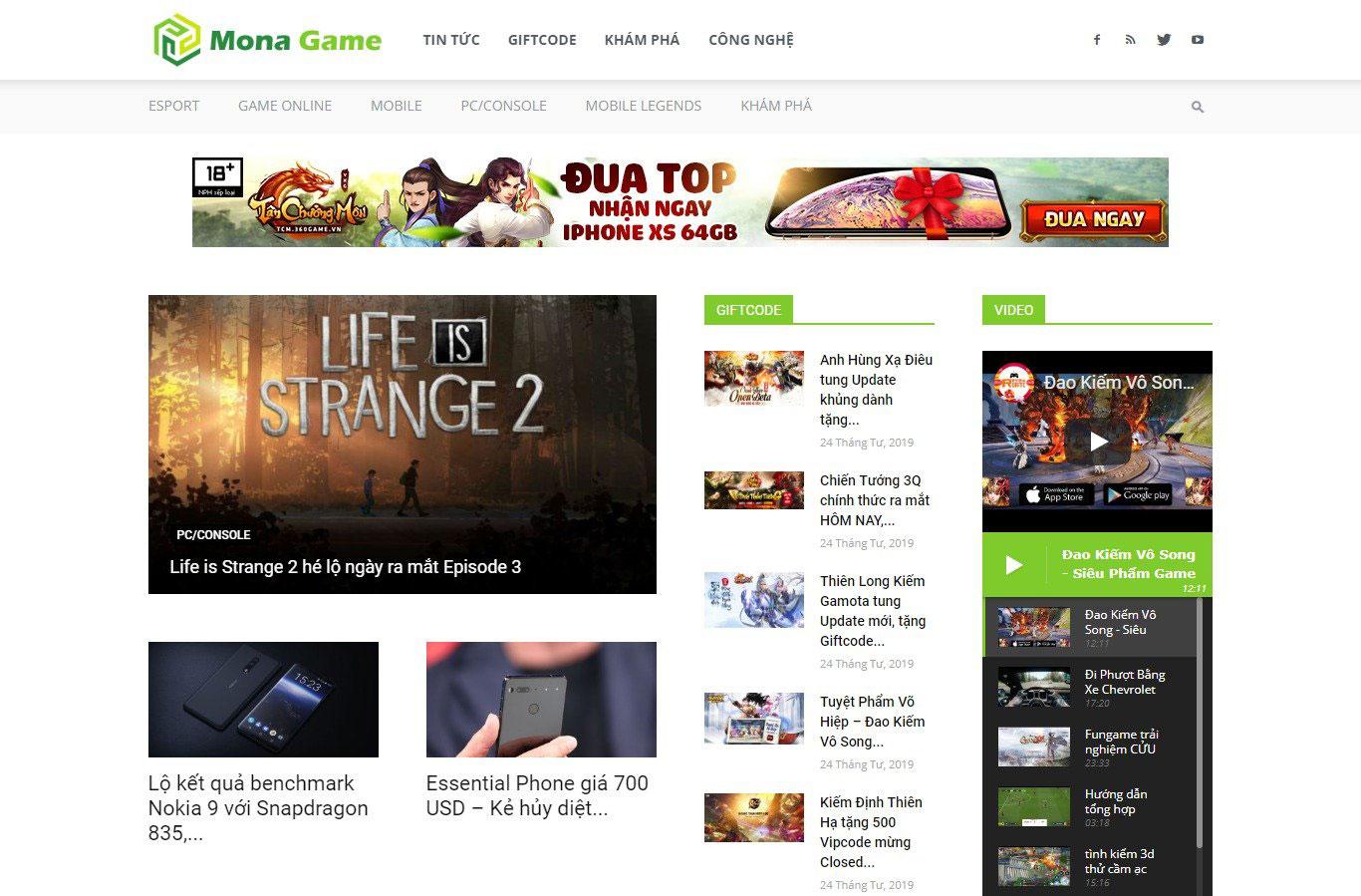 Mẫu website tin tức giống GameHub