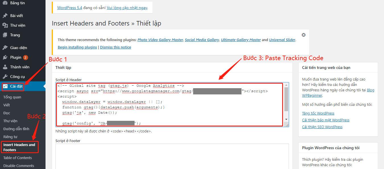 Dán mã tracking code vào website