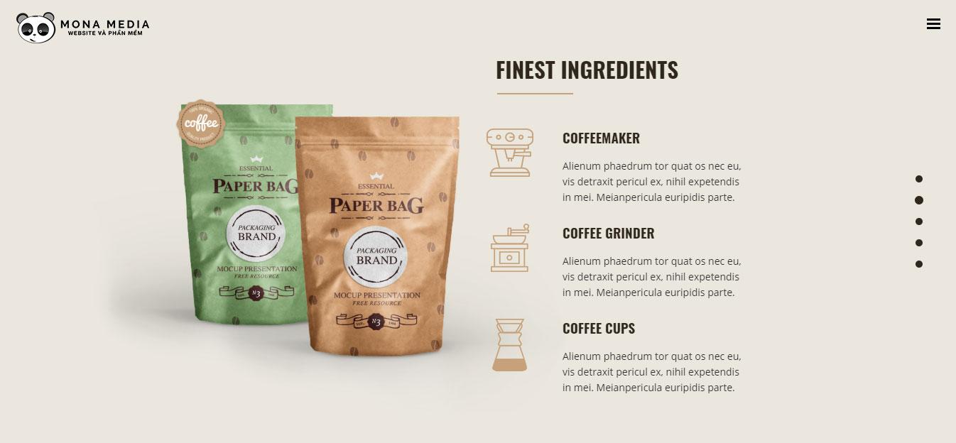 Nên thiết kế website quán cà phê