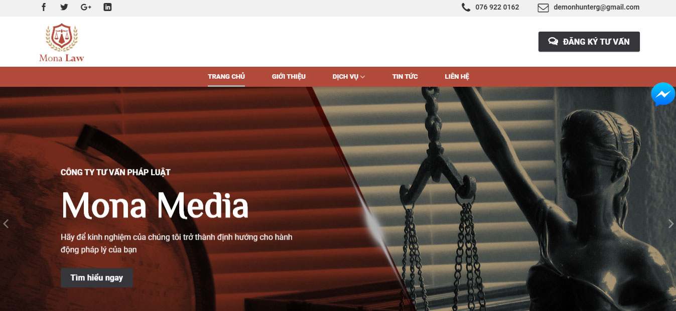 Thiết kế website công ty luật tại Mona