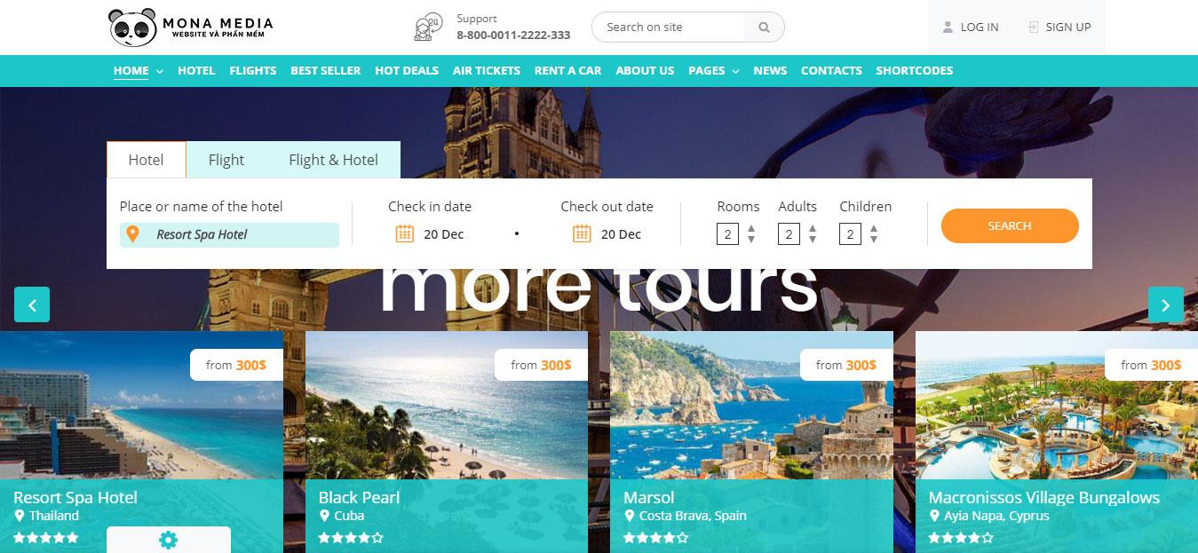 Thiết kế website bán vé máy bay tại Monamedia