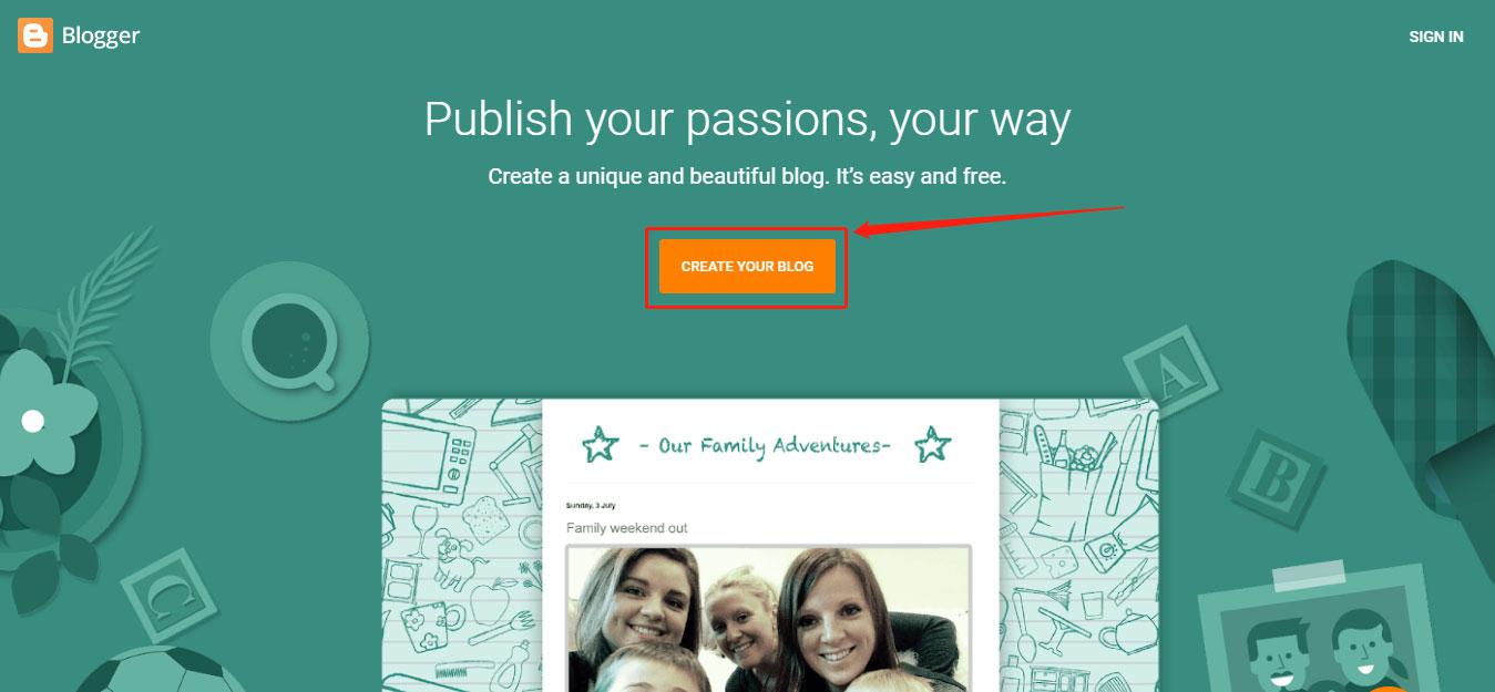 Đăng nhập vào trang blogger
