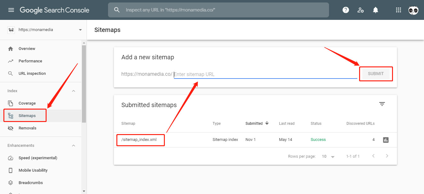 Gửi sitemap trong Search Console